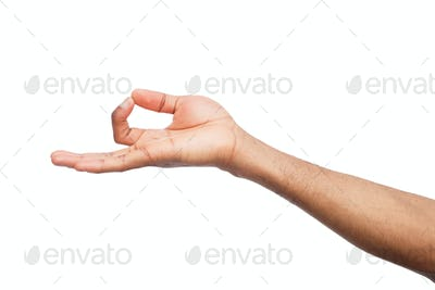 Hand in lotus pose isolated on white background