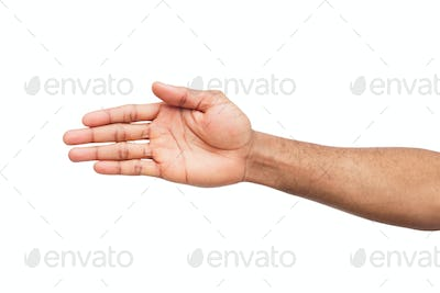 Hand ready for handshake isolated on white