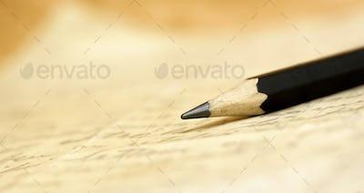 Pencil on a handwritten letter