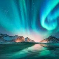 Aurora borealis in Lofoten islands, Norway
