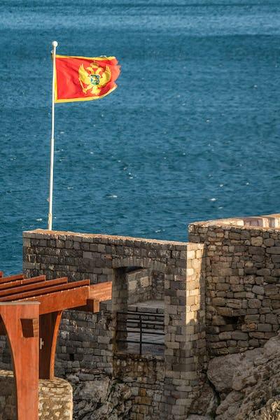 Flag of Montenegro fluttering in a wind