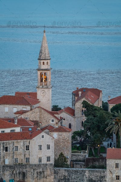 Bell tower of the Church of St Ivan in Budva