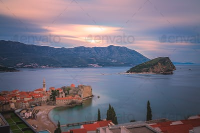 View of Budva from above at dusk