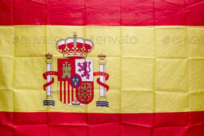Spanish flag with shield and royal crown. Constitutional monarchy. Identity