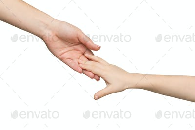 Mother and child hands isolated