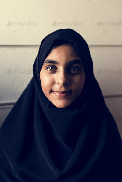 A cheerful Muslim woman