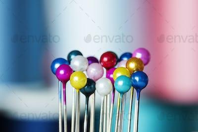 Closeip of colorful pins