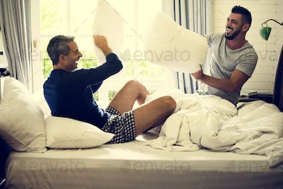 Gay couple is spending time together