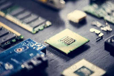 Closeup of electronics computer components microprocessors mainboard