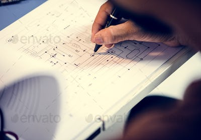 Hand writing circuit pattern guide line paper