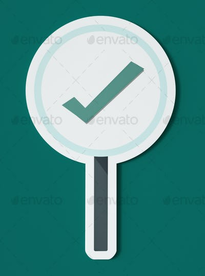 Right tick sign icon isolated