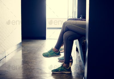 Women waiting at the fitness