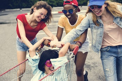 A group of diverse woman friends having fun together