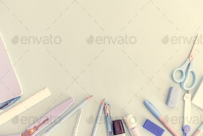 Aerial view of stationery flatlay design space