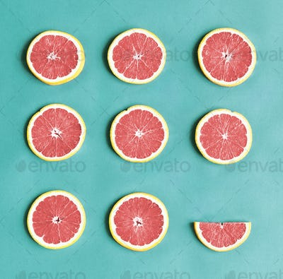 Aerial view of colorful citrus slices