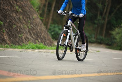 Cycling on mountain trail