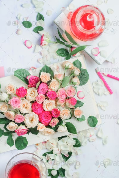 Spring reading concept with open book on a white background with flowers, rose petals, pink
