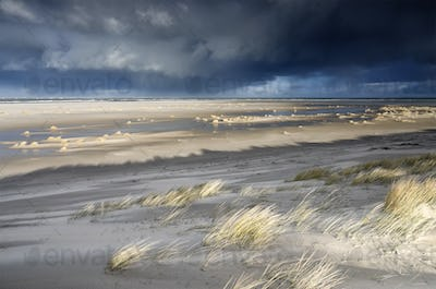 North sea coast on stormy sunny day