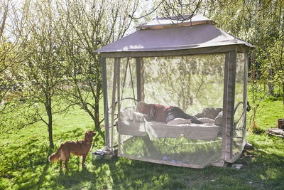 Man sleeping on the swing