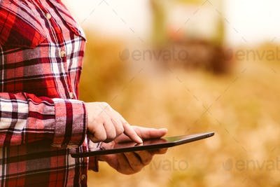 Agronomist using tablet computer in corn field during harvest