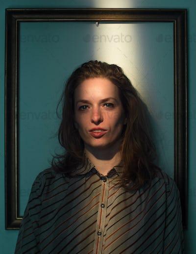 expressive caucasian female portrait,framed in frame
