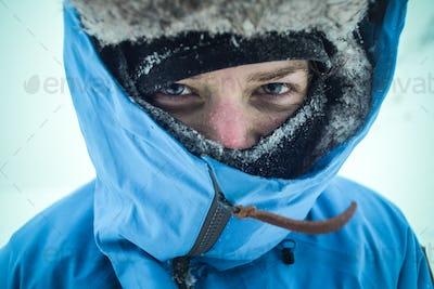 winter female hiker portrait