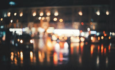 Blurred city at night. Bokeh. Abstract background
