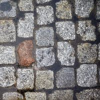 Cobblestone street from above.