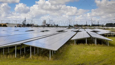 Solar panel field in industrial area