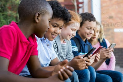 Children using smart phone
