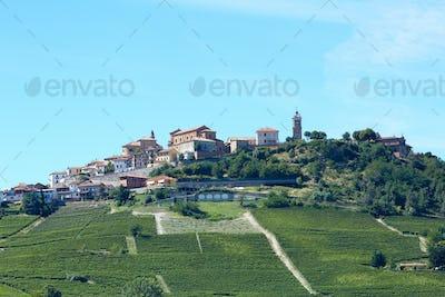 La Morra town in Piedmont, Langhe hills in Italy in summer