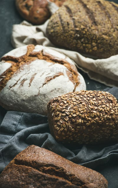 Close-up of Rye, wheat and multigrain rustic bread loaves