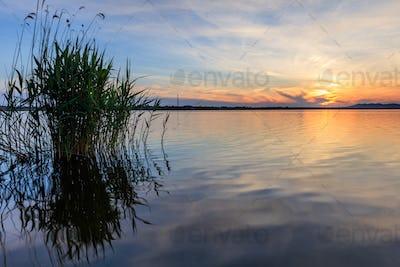 sunet over lake