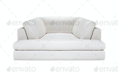 white leather sofa isolated