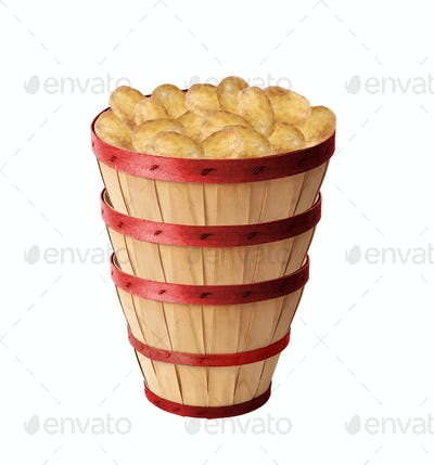 Potatoes in a Basket isolated on white