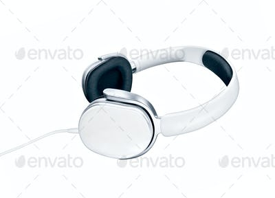 White elegance headphones on white background