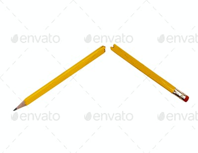 Broken pencil isolated on pure white