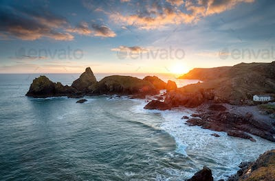 Sunset at Kynance Cove in Cornwall