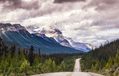 Drive through Icefields parkway, Jasper NP, Canada