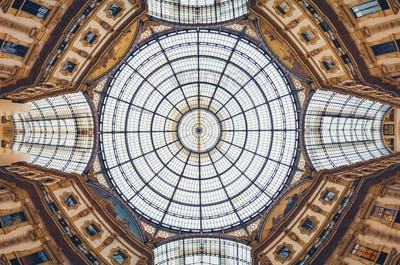 Panoramic view of Vittorio Emanuele gallery ceiling in Milan, Italy