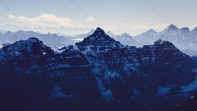 Beautiful moody mountains range view from Mt Temple, Banff, Rocky mountains, Canada