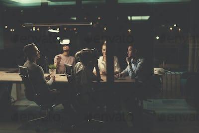Multiethnic Business team using virtual reality headset