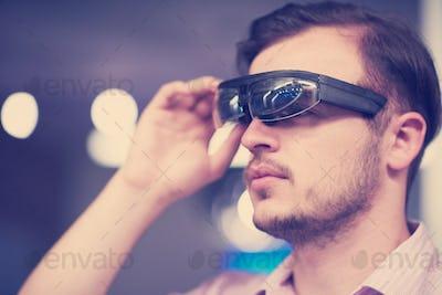 man using virtual reality gadget computer glasses