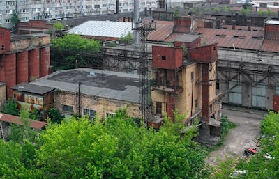 Top view on abandoned industrial building