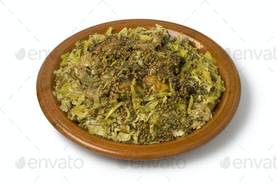 Dish with traditional Moroccan Rfissa