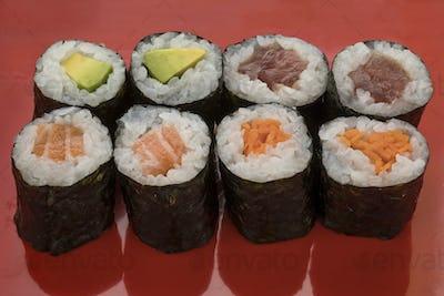 Traditional Japanese sushi maki