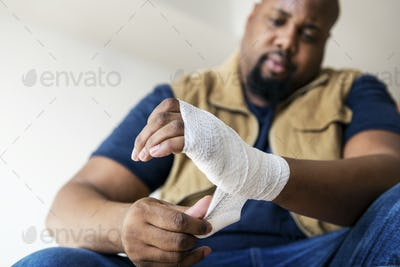 A person getting injured