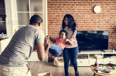 Black family spending happiness time together