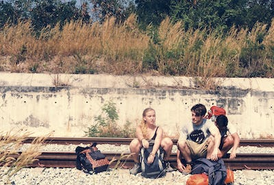 Group of friends traveling together