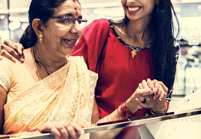 Indian family enjoying a shopping mall